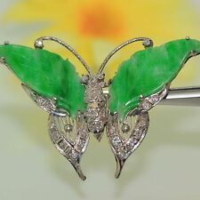 Vintage 18k gold Natural Jade Jadeite & Diamond Butterfly Pendant & Pin Brooch