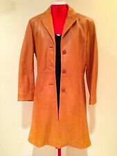 ADLER COLLECTION TAN LEATHER LAMBSKIN COAT Satin Lined Side Pockets Ladies Sz L