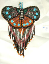 Barrette Beaded Butterfly w Fringe  French clip closure Hair accessory #11