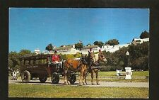 Vtg 1960's Postcard A GRAND HOTEL BUS in front of OLD FORT MACKINAC, MICHIGAN