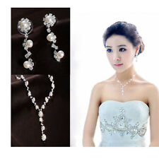 Fake Pearl Crystal Wedding Bridal Bridesmaid Jewelry Sets Alloy Necklace Set