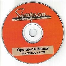 Simpson Operator's Manual 260 Series 7and 7M Volt Ohm Milliammeter CD