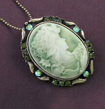 Antique VTG Style Brass Green Rhinestone Designer Cameo Necklace Chain Pendant 1