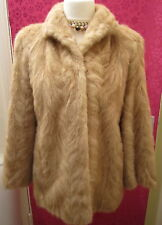 CREAM & HONEY BLONDE REAL MINK FUR COAT JACKET SIZE 14 WOULD FIT 12 VINTAGE 60s