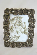 Embossed Daisy Photo Picture Frame Vintage Pewter Old Gold