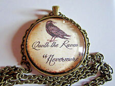 Quoth the Raven Nevermore Edgar Allan Poe pendant necklace jewelry w/chain