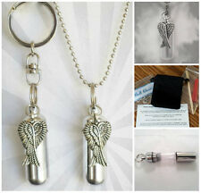 Crossed Angel Wings 2pc.Special Set - Anointing Oil Holder Necklace & Keychain