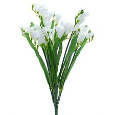 Artificial Cream Freesia Bush with 12 Flowering Stems and Buds - 52 cm Flower