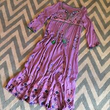 S New Bohemian Purple Embroidered Floral Kaftan Hippie Peasant Maxi Dress Small