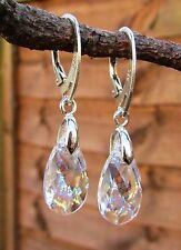 925 STERLING SILVER EARRINGS-SWAROVSKI Crystal White Patina 16mm Pear