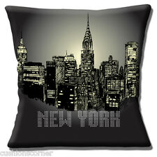 "NEW YORK SKYLINE NIGHT NYC AMERICA USA TRAVEL BLACK 16"" Pillow Cushion Cover"