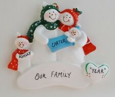 Personalized Snowman Family of 4 w/ Baby Christmas Ornament