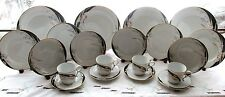 20 PCS ARLEN FINE CHINA SRI LANKA 7186 SHANGRILA FLORAL BLACK GOLD SERVES 4 EXC