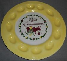 1950s Brock Pottery CALIFORNIA FARMHOUSE PATTERN Deviled Egg Plate