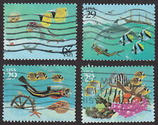 #2863-66 WONDERS OF THE SEA  29¢ USED COMMEMORATIVES 4 STAMPS
