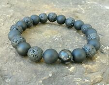 MENS BRACELET BLACK LAVA ROCK AGATE DRAGONS VEIN BEAD STRETCH JEWELRY WRIST GIFT