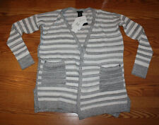 NWT Womens CALVIN KLEIN Gray White Striped Sweater Open Front Cardigan XXL 2XL