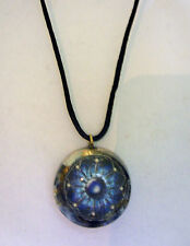 ORGONE PENDANT Fractal Art, Sodalite, Lapis Lazuli Gemstones, IMPROVED