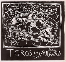 "Antique Pablo PICASSO Exhibition Poster ""Toros en Vallauris"" SIGNED Framed COA"