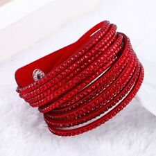 BEAUTIFUL LEATHER Slake BRACELET MADE WITH SWAROVSKI CRYSTALS - RED  NEW