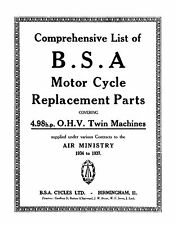 1934-37 BSA W.D. 4.98hp O.H.V. Twin parts book