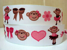 "1 metre x 1"" PINK BALLERINA MONKEY FLOWER BOW HEART ON WHITE Grosgrain Ribbon"