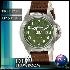 """Timex Men's """"Expedition"""" Brown Leather Watch, Indiglo, T49946  Free Expres Post"""