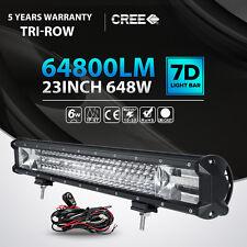 """7D TRI ROW 23INCH 648W LED LIGHT BAR SPOT FLOOD OFFROAD 4X4WD TRUCK 22"""" 24"""" 20"""""""