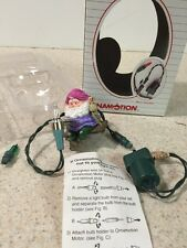 RARE VINTAGE NOMA ORNAMOTION CHRISTMAS ORNAMENT Chubby Gnome ELF On Swing W/ Box