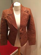 Real Leather New Look Honey Brown Blazer Jacket Size 10