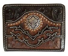 Nocona Western Mens Wallet Leather Bifold Ostrich Cross Aged Bark Brown N5464802