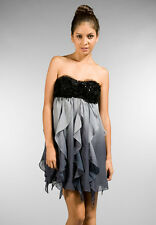 LA ROK LUXE AWARD WORTHY BLACK STRAPLESS COCKTAIL PARTY DRESS PROM FORMAL LARGE