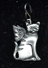 UNBRANDED PEWTER GUARDIAN CAT ANGEL TAG NO CHAIN