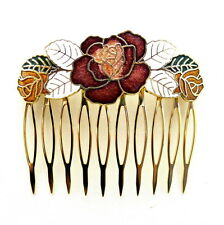 Cloisonne Hair Comb White Flower Painted Enamel Vintage Style Updo Hair Clip Pin