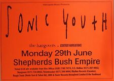 "TOUR POSTER~Sonic Youth 1998 W/The Hangovers/Ashtray Navigations 30x40"" London~"