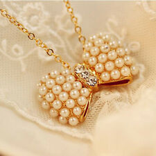 Women Lady Cute Bow Chic White Pearl Crystal Statement Pendent Fashion Necklace
