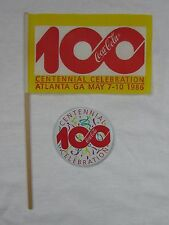 Coca-Cola Centennial Celebration Flag and Pin Set - NEW  FREE SHIPPING