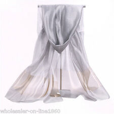 Fashion Women Girls 100% True Silk Silver Solid Long Soft Scarf Wrap Shawl