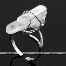 Wire Wrap Opaque Rock Quartz Crystal Gemstone Natural Stone Bead Finger Ring us7