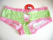 X0069 Hello Kitty by Samrio NEW Green Grid Pink Lace Opening Cotton Hipster S PR