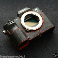 New Dignis Italian Leather Sony A7S II Half Case Black/Red for Sony ILCE-7SM2