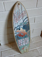 WELCOME TO THE BEACH - BE COOL Fish Flamingo Surfboard Sign Surfer Home Decor