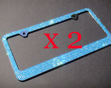 2 PCS 7 Rows BLUE(A- Type Screw Cap) Bling Crystal License Plate Frame