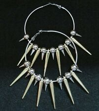 "Basketball Wives 2 1/2"" Hoop Earrings with 1/2"" Silver and 1 1/4"" Gold Spikes"