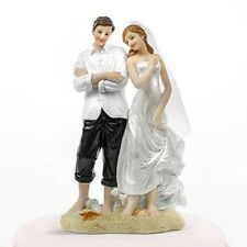Beach Couple on Sand Comedy Cake Topper - Bride & Groom Wedding Cake Topper