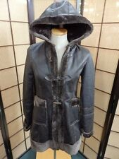 22604 Hooded Brown Shearling Faux Fur Women's Coat Jacket Size: Medium Wet Seal