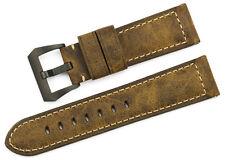 Männer Verrücktes Pferd Echtes Leder Retro-Uhrenarmband 24mm For PAM Watch 44mm