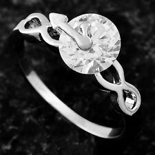 Wedding Bridal  Ring Clear Cubic Zirconia White Gold Filled  Size 6.5#B1836