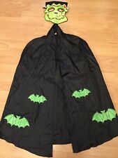 George BLACK CAPE HALLOWEEN FANCY DRESS AGE 7-8yrs & Fabric Monster Face Mask VG