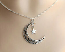 Chain Crescent Necklace Pendant Silver Charm Moon Star Choker Plated Jewelry